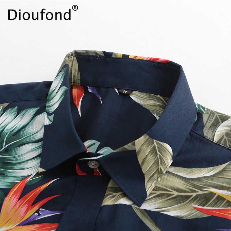 Dioufond Для Мужчин's Повседневное короткий рукав Летняя Гавайская Юбка «Aloha» Для мужчин на пуговицах с цветочным рисунком, с рисунком ананаса, рубашки 2018 Новый S-3XL
