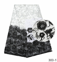 2019 High Quality French lace fabrics Fashion white/black embroidery african net fabric with stoens nigerian
