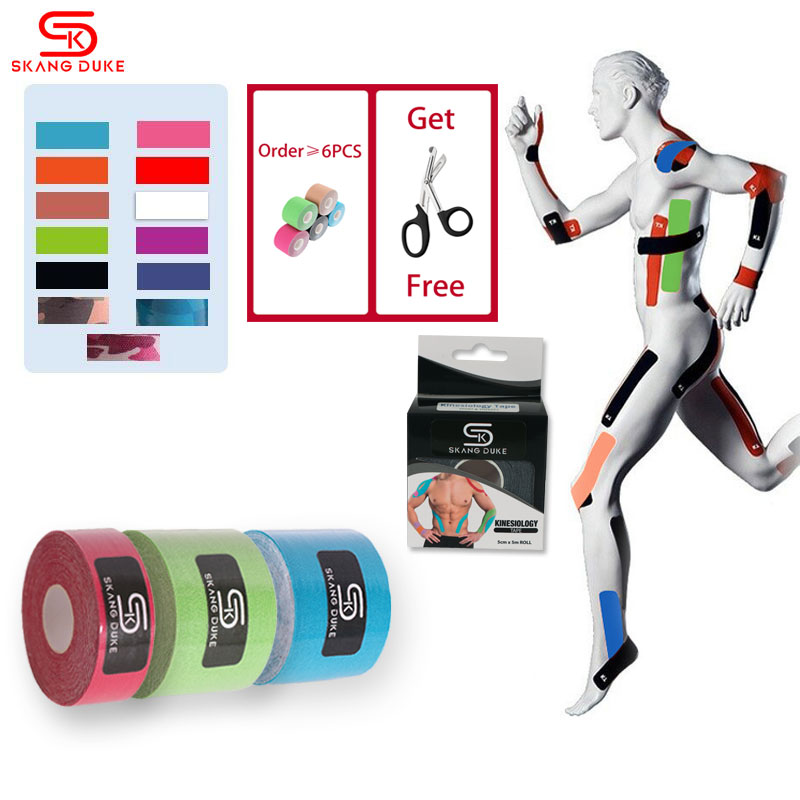 2 Size 5M Lenght Elastic Kinesiology Sports Tape Athletic Strapping Gym Tennis Fitness Running Knee Muscle Pain Care Therapeutic