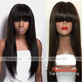 Cheap Hair Wigs Silky Straight Synthetic None Lace Front Wig With Bangs Heat Resistant Fiber Hair Wigs For Black Women