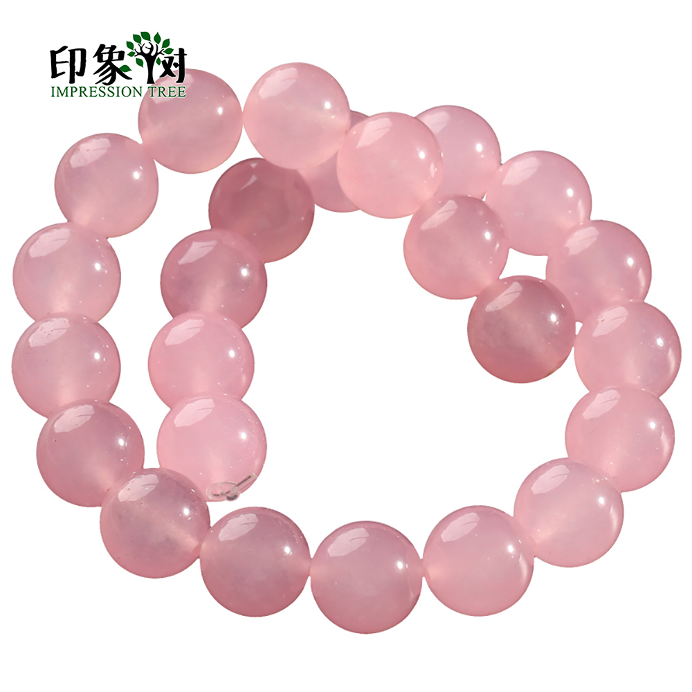 4/6/8/10/12/14mm Natural Pink Chalcedony Jades Round Smooth Bead Pick Size Loose Bead Fit Necklace For DIY Jewelry Making 2015