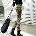 25-34 Plus Size Mulheres Magras Calças de Camuflagem Primavera SummerTrousers Camo Carga Militar Calças Pantalons Pour Femme