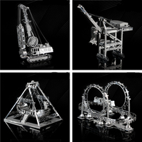 3D Metal Assembly Model Cable Car Roller Coaster A Pirate Boat Amusement Facilities Puzzle Toys Creative