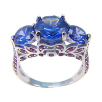 Wedding Jewelry 100 925 Silver Rings For Women With Tanzanite Silver Jewelry Tanzanite Trendy Attractive Rings