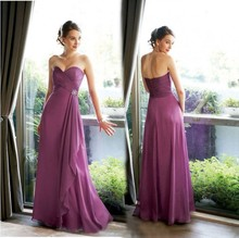 robe de soiree free shipping party gown 2014 new fashion vestido festa sexy purple long chiffon elegant Bridesmaid Dresses