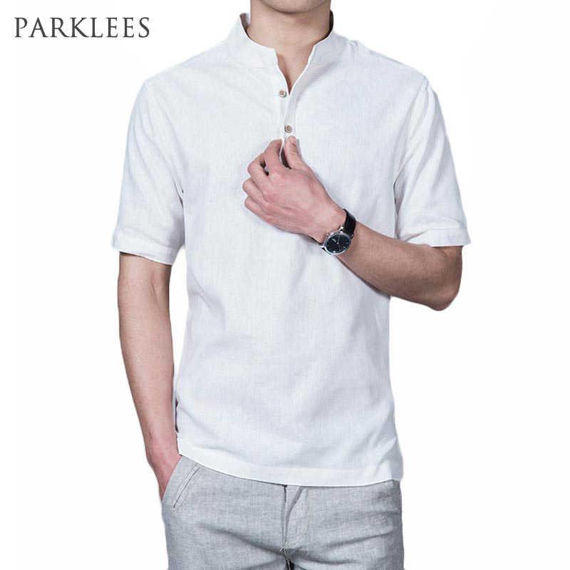 男性リネンシャツ2016ブランド新しい半袖息シャツ男性カジュアルスリムフィット夏リネンコットン男性シャツシュミーズオムxxxl
