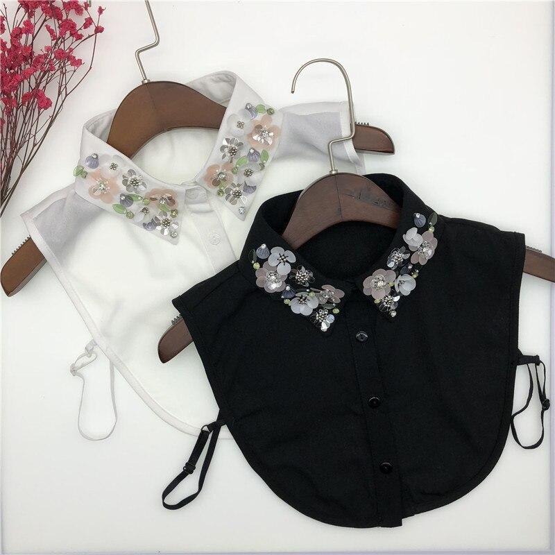 Autumn And Winter New Korean Hand-nailed Pearl Fake Collar Women Shirt
