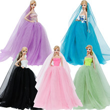 Fashion Lace Wedding Dress + Veil Long Tail Evening Party Gown Bubble Skirt Accessories Clothes For Barbie Doll Dress Best Gift(China)