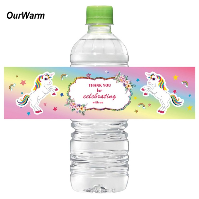 7213719b297 OurWarm 12pcs Unicorn Water Bottle Labels Dreamy Candy Bar Wrapper Unicorn  Party Baby Shower Birthday Party