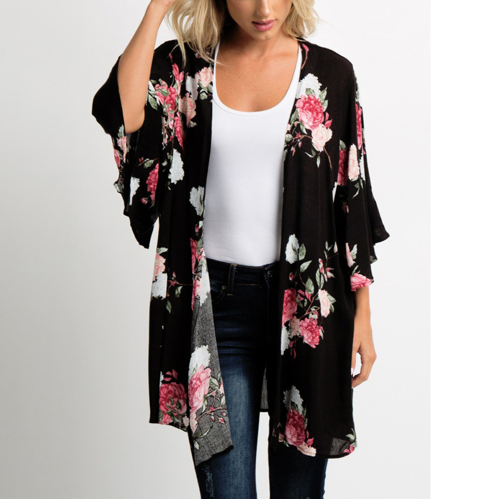 Feitong Women Chiffon Blouses Kimono Cardigan Ladies Causal Shawl Floral Print Tops Cover Up blusas mujer de moda 2019 Fashion cardigan