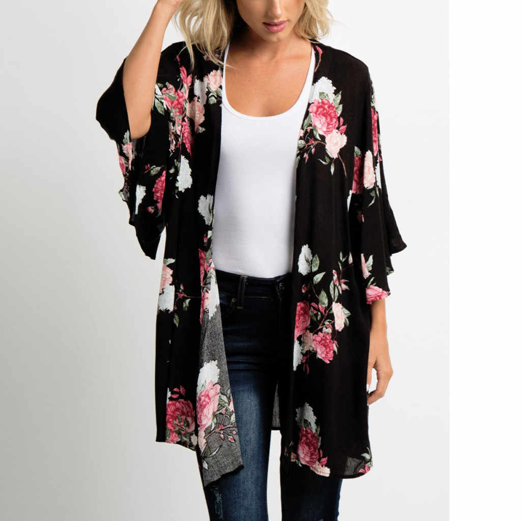 0b96e0ba8f2a7a Feitong Women Chiffon Blouses Kimono Cardigan Ladies Causal Shawl Floral  Print Tops Cover Up blusas mujer