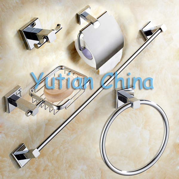 Aree shipping,Solid Brass Bathroom Accessories Set,Robe hook,Paper Holder,Towel Bar,Towel ring,bathroom sets,YT-11400-5 fully copper bathroom towel ring holder silver