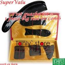 100% buffalo horn! Traditional Acupuncture Massager tool paper box Gua Sha beauty kit 5pcs/set  +1pcs guasha chart comb
