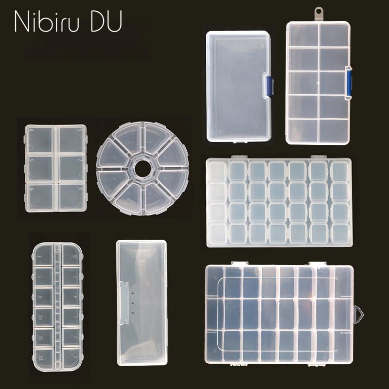 Nail Art Storage Case Rhinestones Gems Accessories Clear Plastic Empty Container For Rhinestones Beads Organizer Box