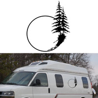 2x Sunset Lonely Mountain Tall Tree Graphic Personalized Temperament Lifestyle Art Car Sticke Camper Van SUV