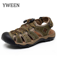 YWEEN Men Sandals Genuine Leather Summer Hollow Breathable Non Slip Casual Outdoors Beach Shoes Large Size