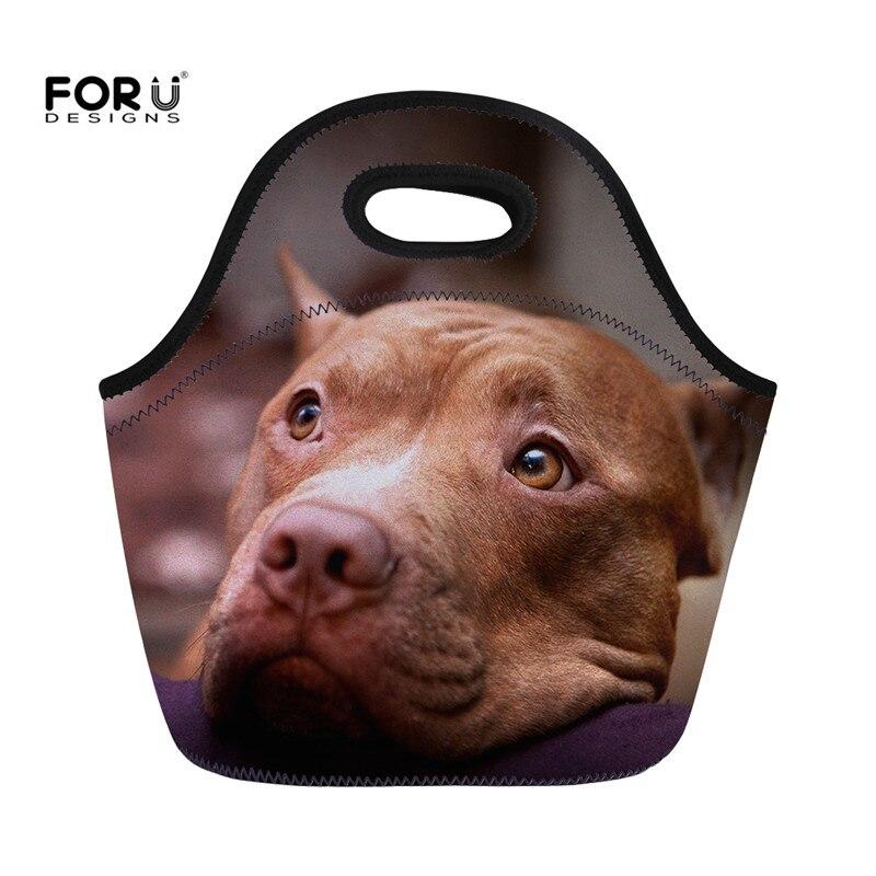 Bags para Mulheres Refrigerador de Comida Forudesigns Pittbull Lunch Lancheira Crianças Bolsa Bolsas Bonito Pugs Impressão Bulldog Refrigerado Térmica