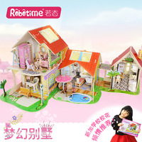 Early Childhood Education 3d DIY Wooden House Puzzle Kitchen Bathroom Sitting Room Study Room Bedroom 5