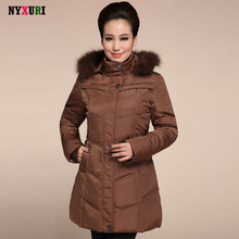 Manteau femme hiver 2016 Long section Middle-aged X-Long  white duck down jacket Winter Women Leather grass hooded jacket  6XL