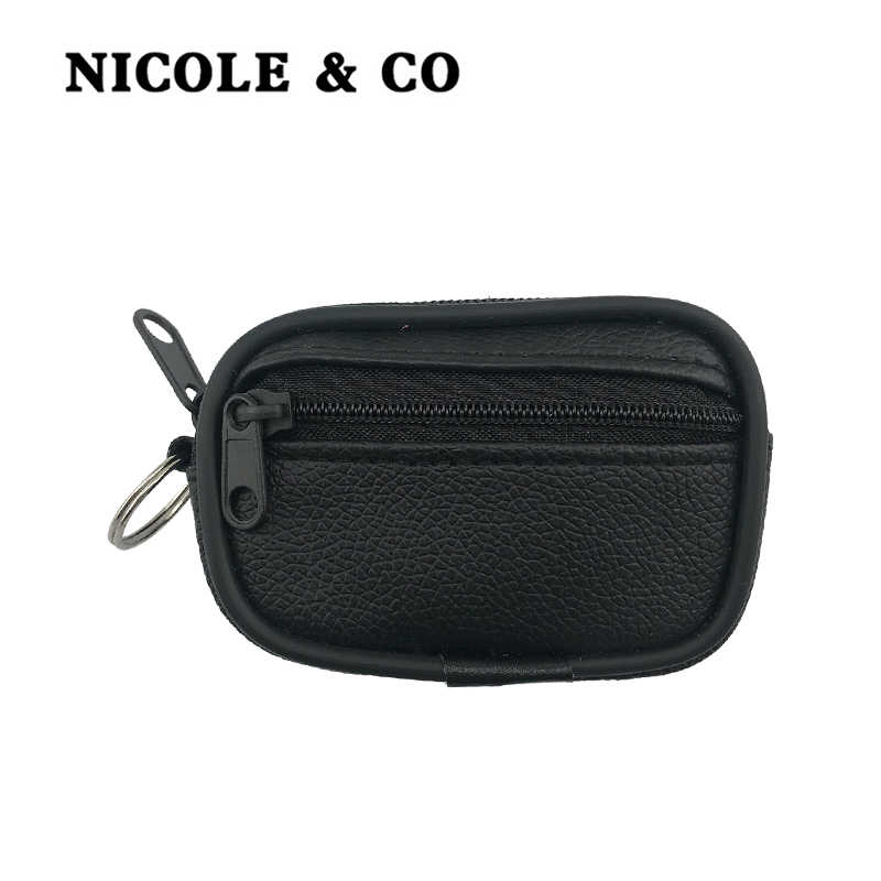 NICOLE & CO PU Leather Coin Purses Mini Women's Small Change Bag Pocket Coin Wallets Key Holder Case Pouch Zipper Purse Belt bag