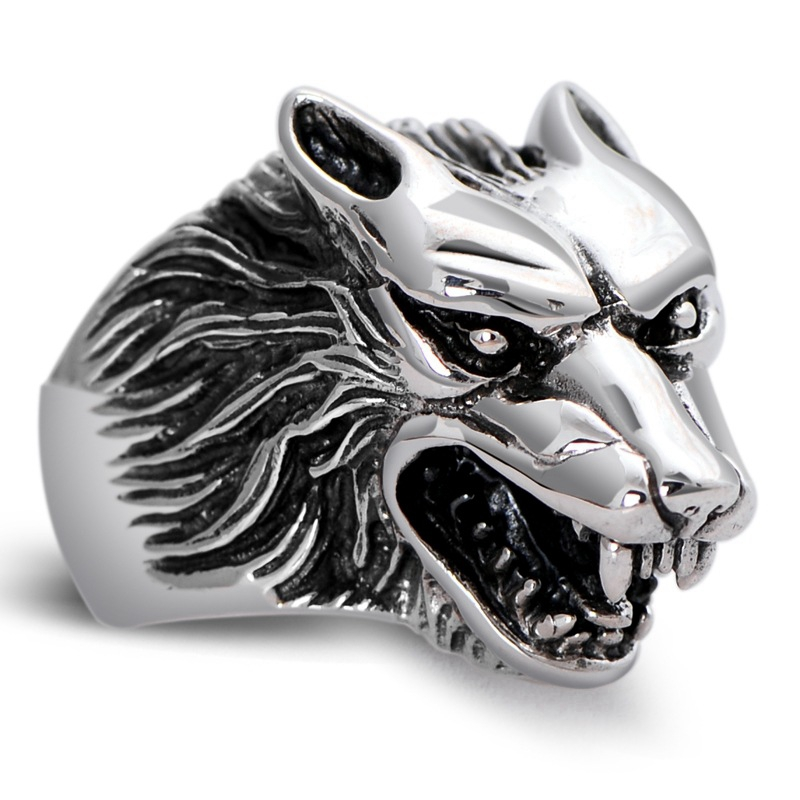 925 Sterling Silver Retro Animal Wolf Head Men Male Ring Thai Silver Fine Jewelry Gift Finger Ring CH046837 100% genuine 925 sterling silver retro men male ring thai silver fine jewelry gift snake cross heavy finger ring ch057436
