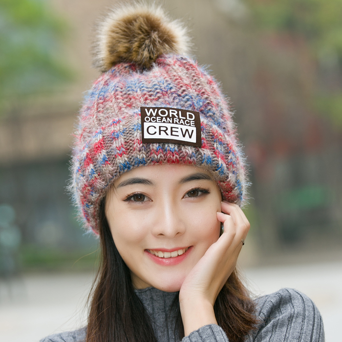 new Winter hat female students warm knitted hat autumn and winter plus cashmere thickening ear hair