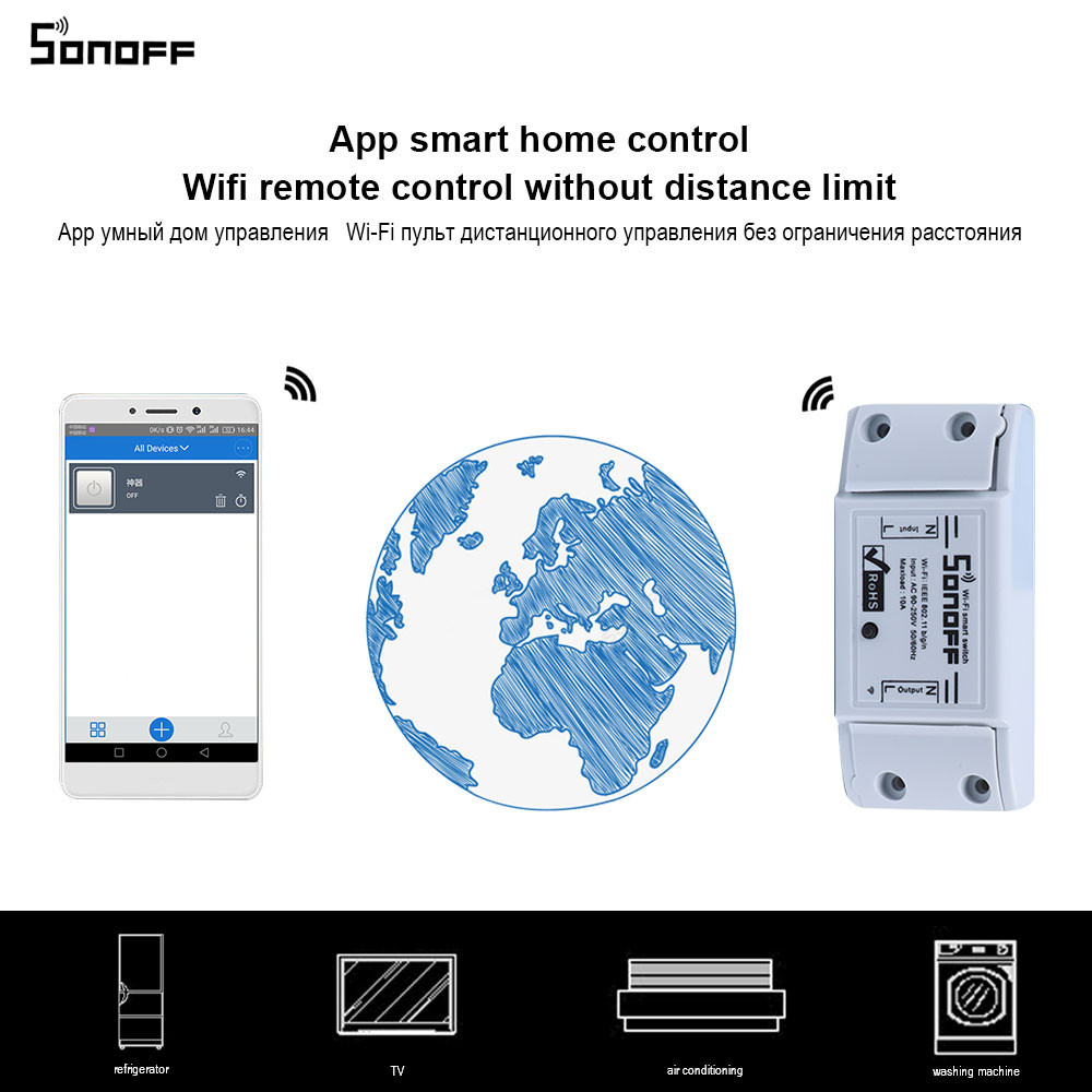 Sonoff Wifi Commutateur Universel Smart Domotique Module Minuterie DIYWireless Interrupteur À Distance Contrôleur Via IOS Android 25