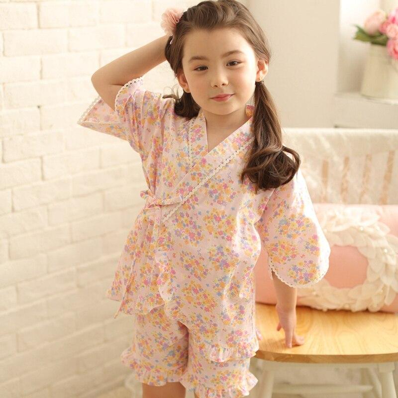 2017 autumn hot sale satin pajama kid children sleepwear wedding flower girls gown high quality kimono robes flower nightgown