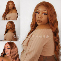 Maycaur #30B Ginger Color Wavy Synthetic Lace Front Wigs Heat Resistant Fiber Glueless Hair for Black Women 22