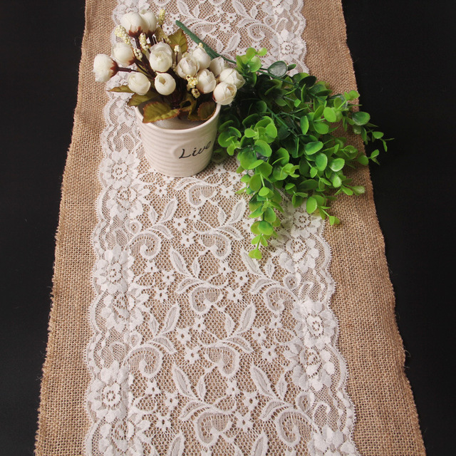 Linen lace table runner jute burlap hessian ribbon natural rustic linen lace table runner jute burlap hessian ribbon natural rustic wedding centerpieces party supplies christmas decoration junglespirit Images