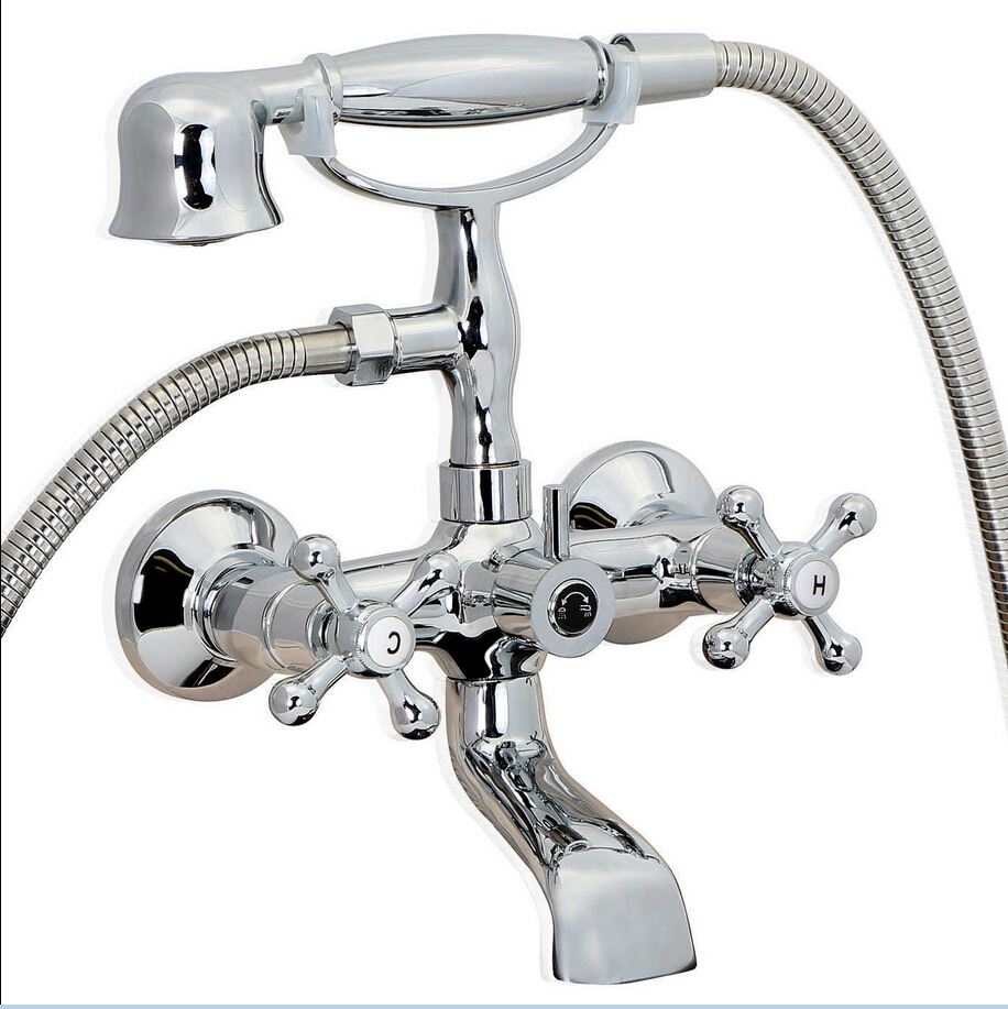free shipping chrome vintage clawfoot bath tub faucet with handshower wall mount 022china - Vintage Tub