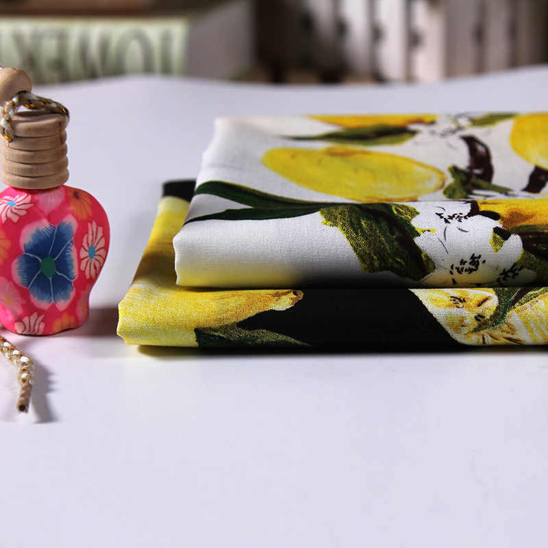 High-grade printing pure cotton fabric new lemon flower shirt skirt natural cotton fabric wholesale cotton cloth 150cm
