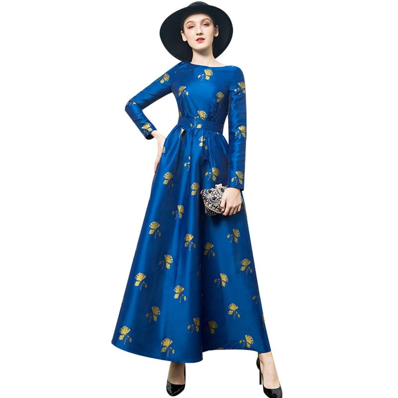 Di Primavera 9075 2019 Partito Pista E Impermeabili Lungo Qualità Donne Delle Alta Jacquard Vestito Trench Fiori Dress Del Da wtgnxqn