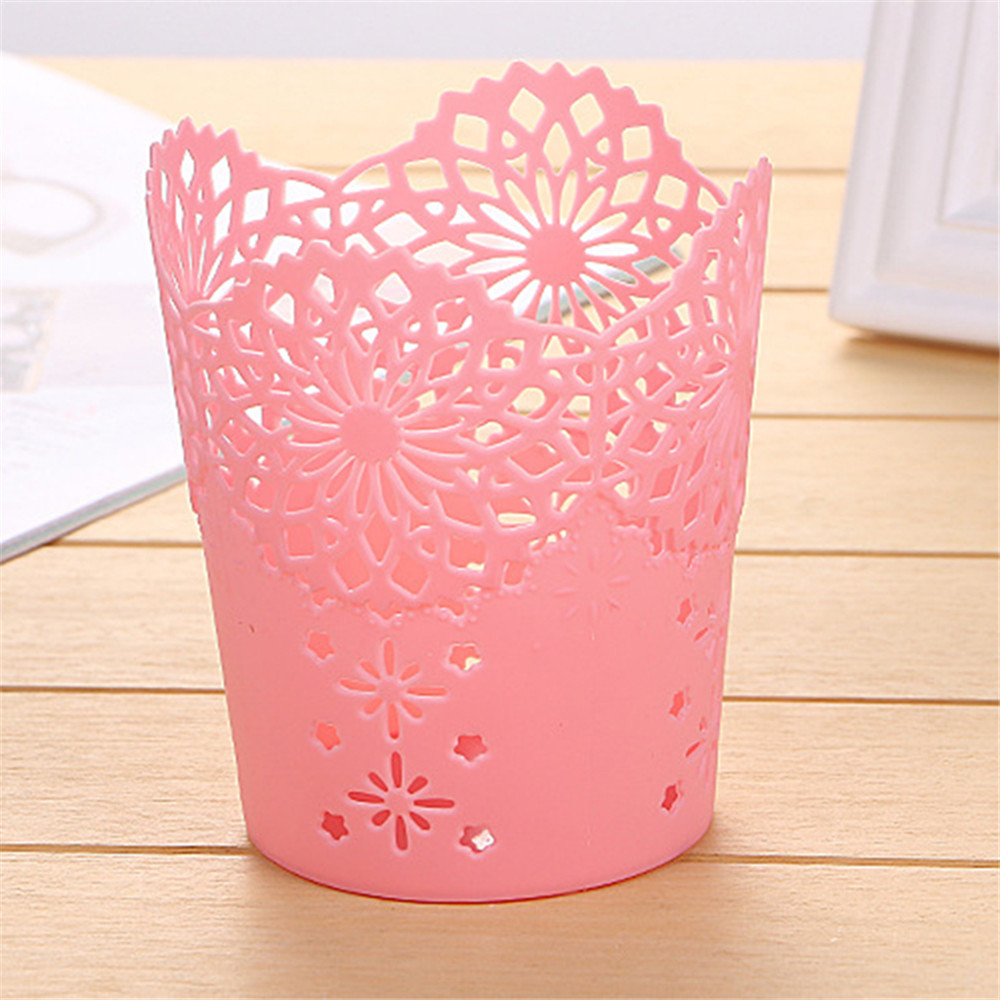 Image 5 - Openwork Pattern Pen Holder Creative Storage Bucket Small  Can Storage Basket-in Storage Baskets from Home & Garden