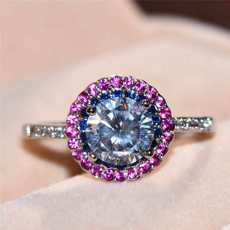 คริสตัลหินสีฟ้าแหวนหมั้นที่ไม่ซ้ำกันแฟชั่นเงินที่มีสีสัน Rainbow แหวนแหวนแต่งงาน Vintage