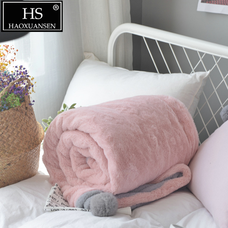 Multi-fonction rose gris fausse fourrure lapin couvertures doux Double couche chaud jeter couverture lit couverture grande peluche balle housse de couette