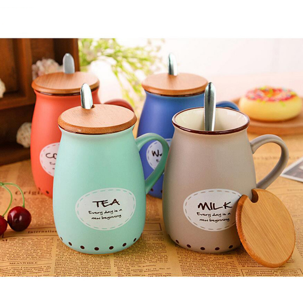 Exquisite Ceramic Coffee Mugs Milk Tea Cups and Mugs Porcelain Mugs with Spoon Lid Cute Home Office Drinkware Christmas Gift