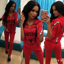 New Hooded Solid Women's Sport Sets Short-sleeve Loose Female  Two-piece Sweatshirt and  Pant Sets