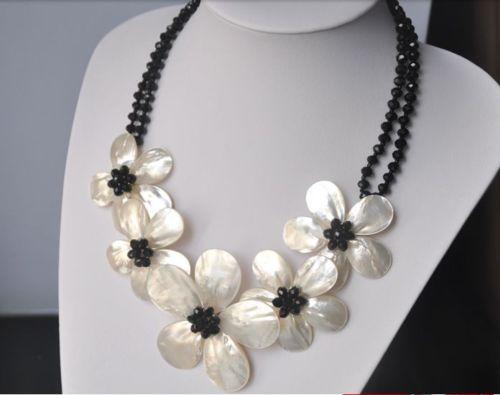 Vente chaude nouveau Style>>>>> De Mariage Femme Bijoux Noir Cristal Perle Collier Ras Du Cou Jolie Fleur À La Main