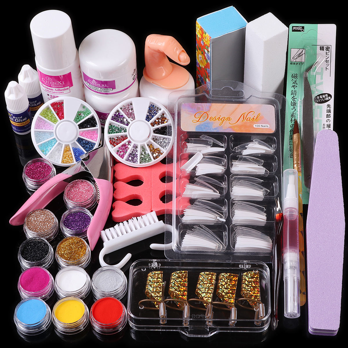 Nail Art Acrylic Powder Liquid Glue Brush Guide Form Tweezer Rhinestones Glitter False Tips Buffer Files Manicure Tools Kit Set 48 bottles lot 5 designs mixed diy nail art decoration kit rhinestones beads sequins paillettes nail glitter powder acrylic tips