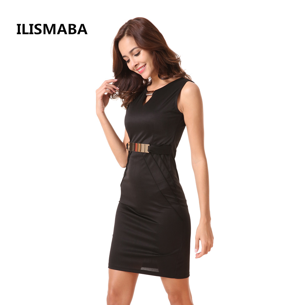 ILISMABA 2018 new ladies fashion sexy sleeveless dress V-neck metal buckle women's brand black knitted fabric clothing ilismaba new ladies fashion sexy autumn long sleeved brand dresses high quality printed knitted elastic fabric women s dress