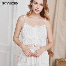 Hoyyezen Sexy sleepwear For Women White Pyjamas Soft Sling Sleepwear Shirts+Shorts Underwear Sleeveless Nightwear Sets