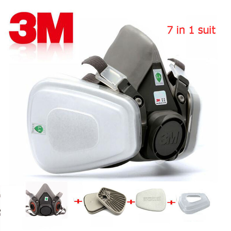 3M 6200 industrial gas mask 7-in-1 set of dust-proof paint chemical facial protection breathing filter cotton half face mask3M 6200 industrial gas mask 7-in-1 set of dust-proof paint chemical facial protection breathing filter cotton half face mask