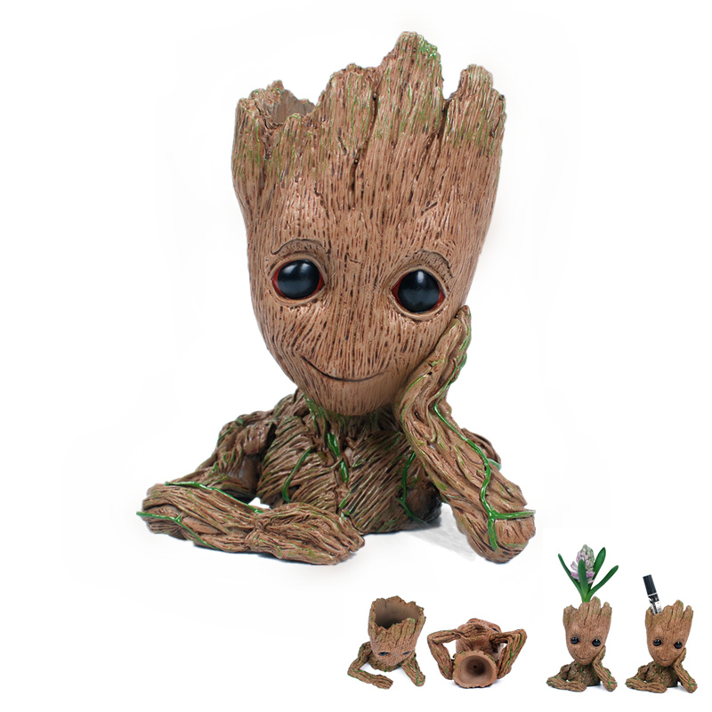 16cm Tree Man Baby Groot Action Figure Pencil Vases Amine Hero Guardians Doll Toy Gift Twig Flowerpot Groot Decoration Penholder 2016 new arrival the guardians galaxy mini dancing tree man action figure model toy doll