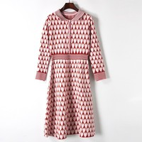 Runway High quality autumn winter turn down brand women cute pink heart jacquard knitted dress elegant long sleeve party dresses