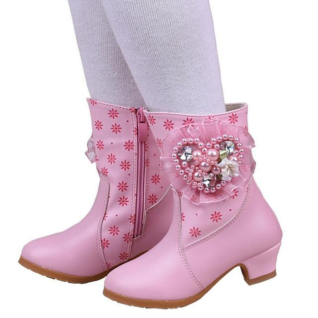 81c9357d489 US $26.25 |Children's Cotton Boots Autumn Winter Girls Short Fashion  Princess Boots Little Girl High Heel Boot Baby Shoe-in Boots from Mother &  Kids ...