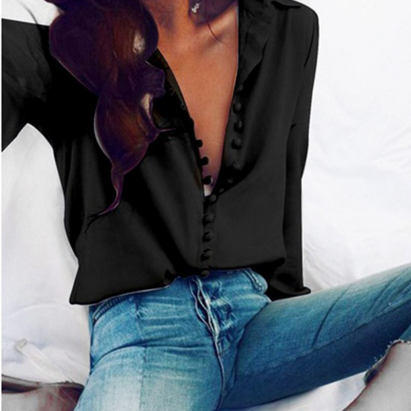 Spring Autumn Women Casual Buttons Turn-down Collar Shirts Long Sleeve Blouse Female Clothing Tops S4