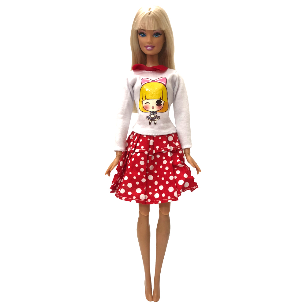 NK One Set Doll Clothes White dots skirt Beautiful Sorts Handmade Fashion Party Dress For Barbie Doll Best Girl's Gift Kid's Toy