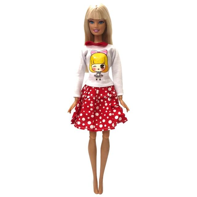 NK Satu Set Pakaian Boneka Titik Putih Rok Yang Indah Macam Buatan Tangan  Fashion Pesta Gaun 6917411cb0