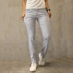 Hcxy 2017 di Alta Qualità Degli Uomini di Pantaloni di Lino Uomo casual Estate Pantaloni Sottili Uomini Pantalones Pantaloni Maschili Formato 38